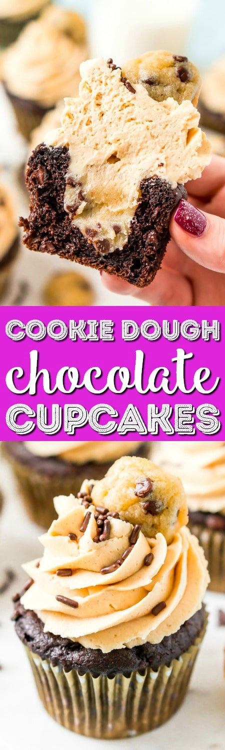 These CookieDoughCupcakes are made by stuffing an edible cookie dough into moist chocolate cupcakes and then topping it with a velvety peanut butter frosting, sprinkles, and a mini chocolate chip cookie! #cookiedough #cupcakes #chocolate #peanutbutter #dessert