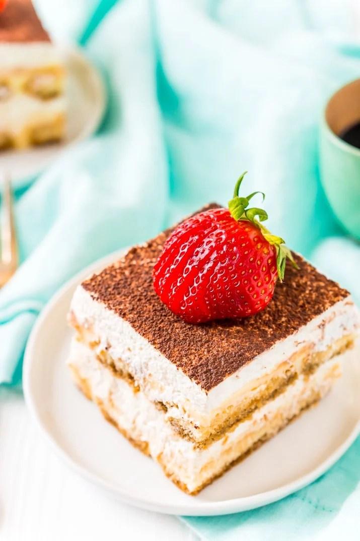 Easy Tiramisu Dessert Recipe on White Plate