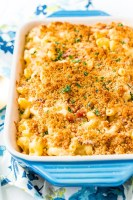 This Three Cheese BaconMac and Cheese is loaded up with crispy baked bacon and three different kinds of cheese, it's to die for!