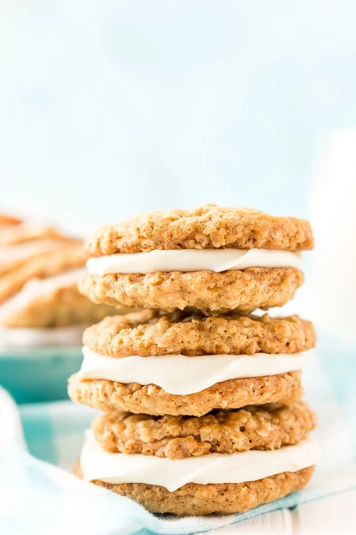 These Oatmeal Cream Pies are soft and chewy just like the ones you grew up with. Sweet oatmeal cookies sandwich a creamy vanilla filling for an easy and delicious dessert!