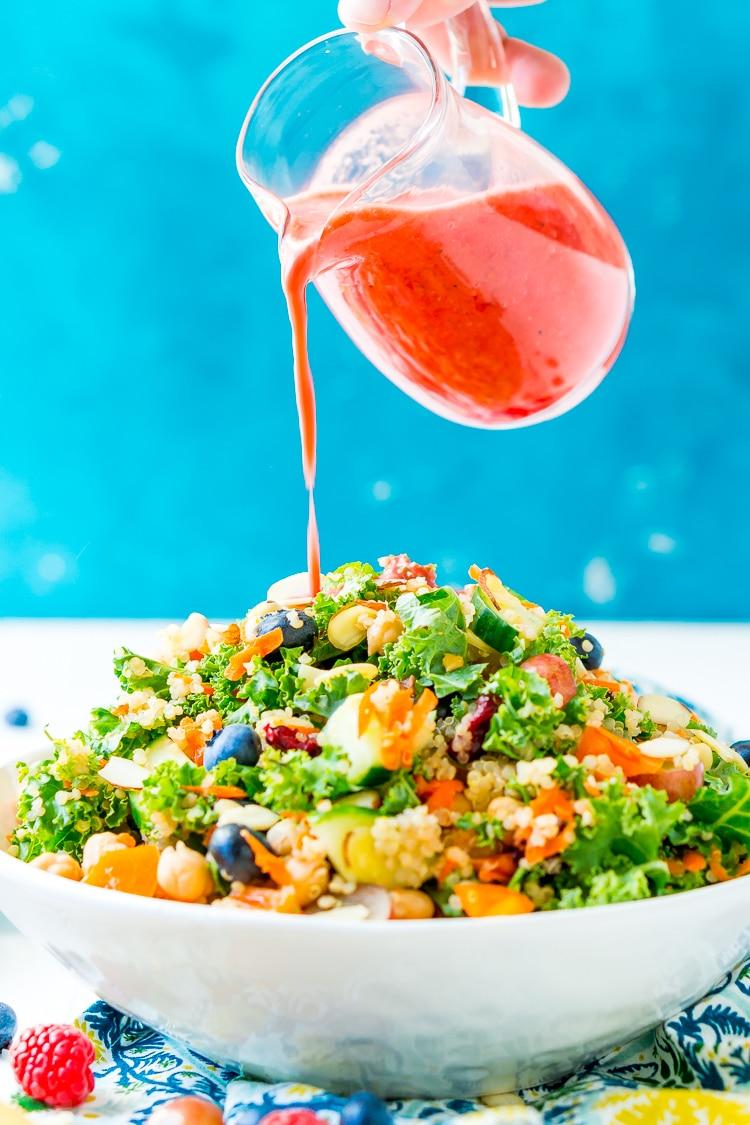 Chopped Kale Salad with Raspberry Vinaigrette Dressing