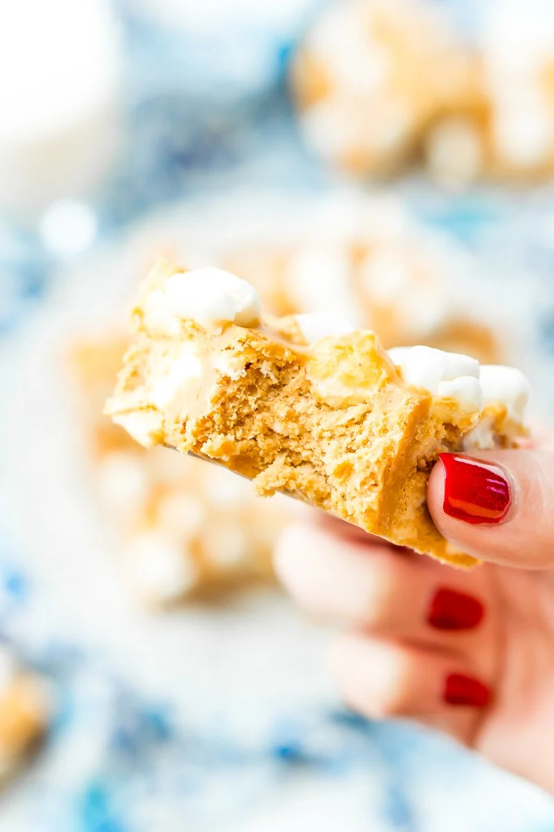 These Peanut Butter Marshmallow Squares are an easy old-fashioned no-bake treat made with just 3-ingredients and 5 minutes of prep!