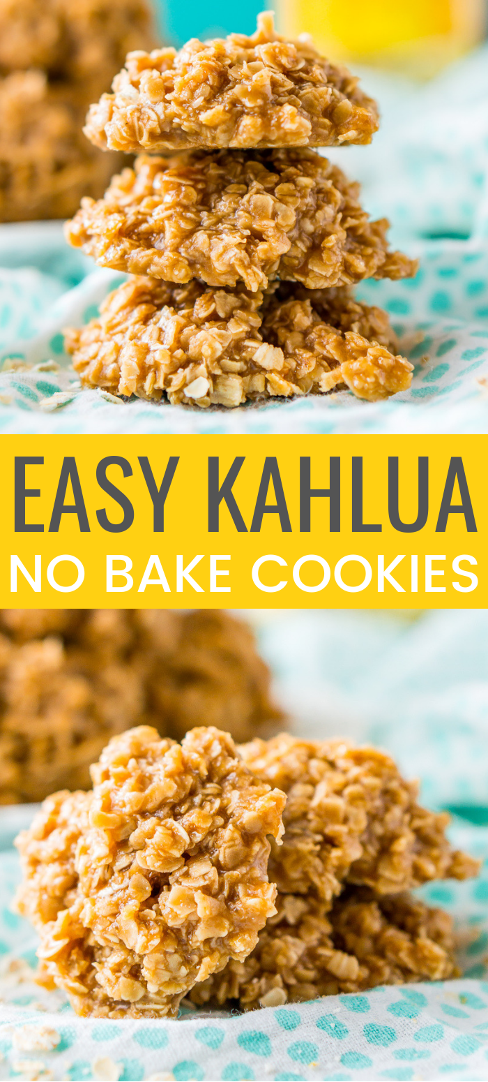 These Kahlua No Bake Cookies are a quick and delicious boozy dessert made with everyone's favorite coffee liqueur, oatmeal, sugar, and pudding!