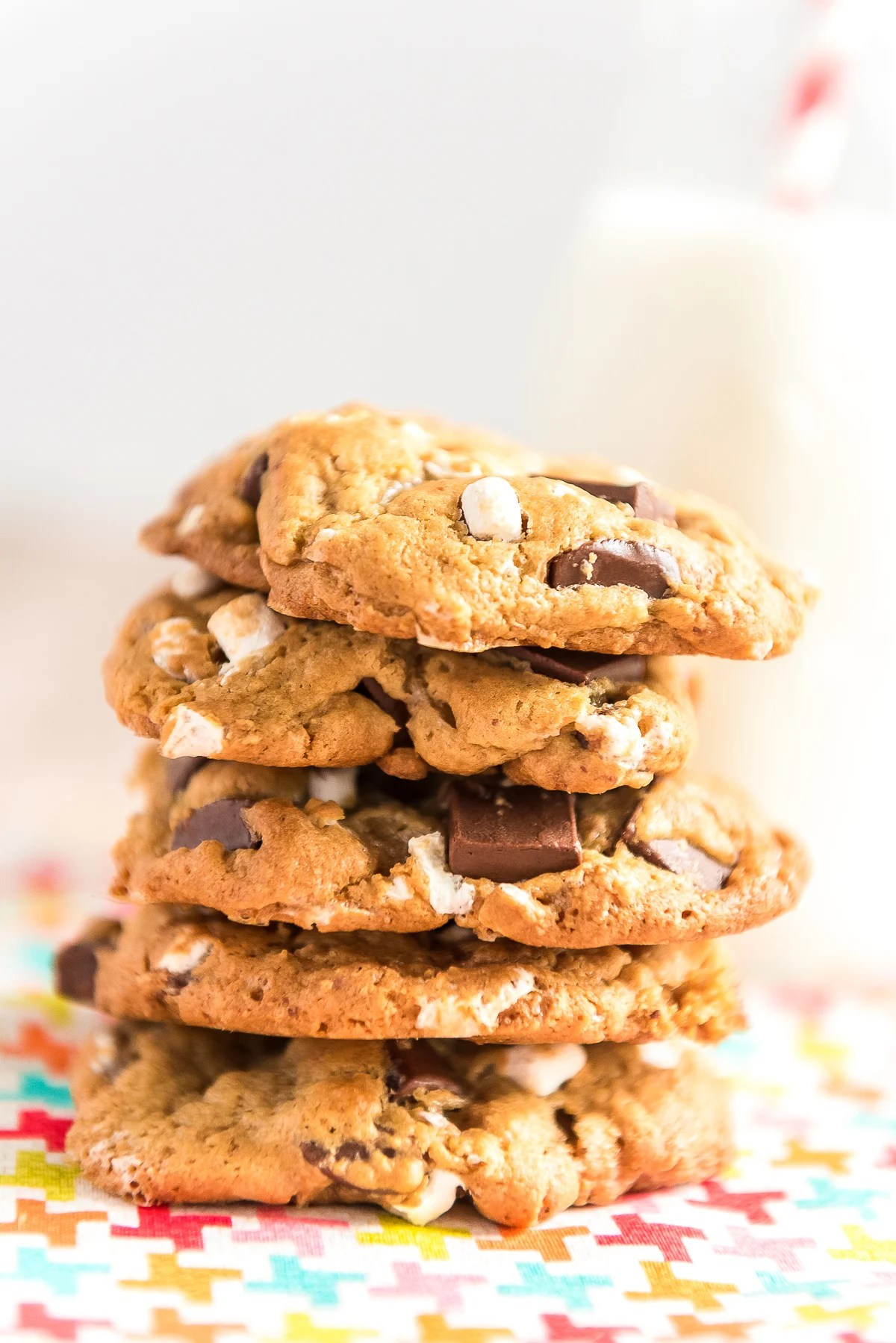 S'mores Cookies combine the flavors of marshmallows, chocolate, and graham crackers for a deliciously sweet cookie reminiscent of the classic summer treat!