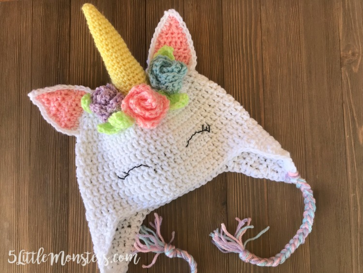 Unicorn hat with flowers