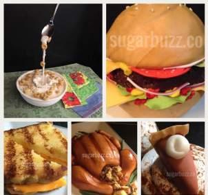 Cake food collage b l dinner W