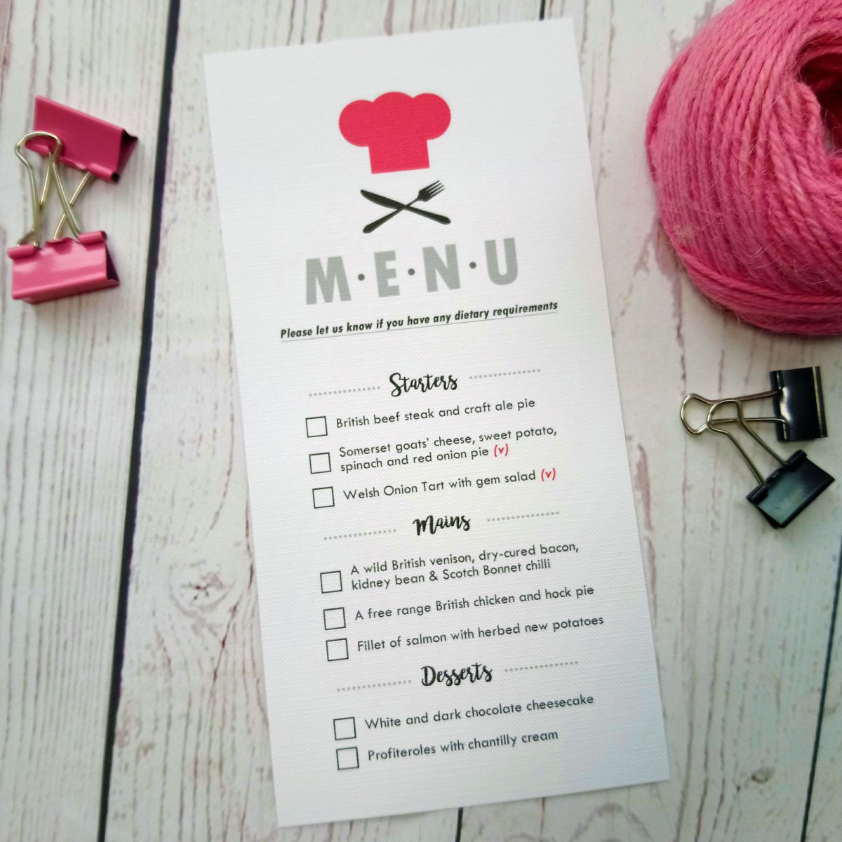 Pink cook hat and black fork and knife Boy Meets Girl Wedding Menu Card with meal choice tick boxes
