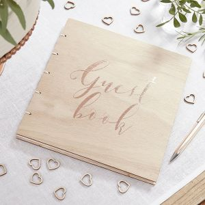 Wooden Rose Gold Foiled Guest Book