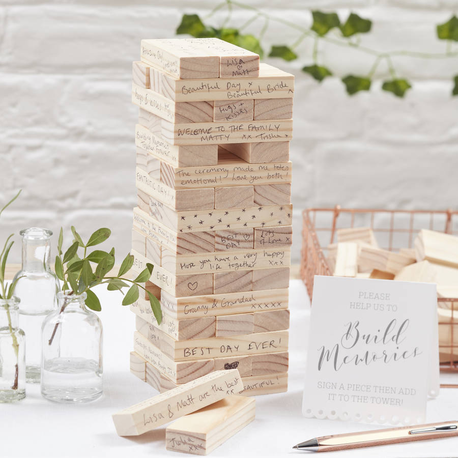 Build A Memory Wedding Guest Book with 72 wooden blocks for guests to build a tower with their messages