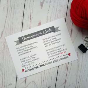 Lovers Bike Love heart Honeymoon Wish Poem with grey banner. With line with love, the bride and groom at the bottom
