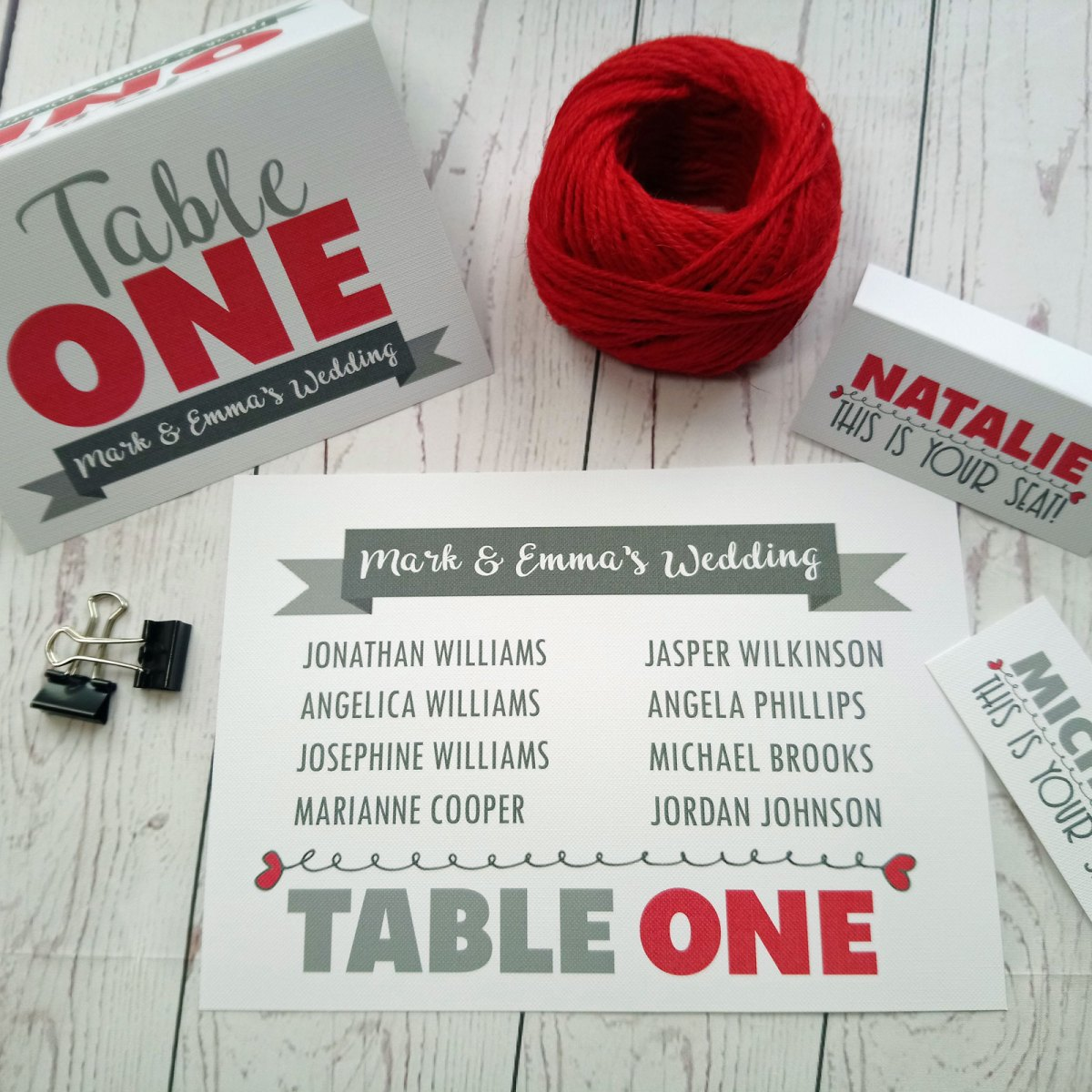 Table plan, place card and table number Lovers Bike Love heart