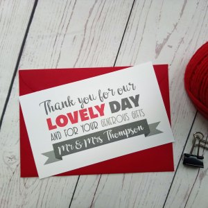 Lovers Bike Love heart Thank You Card with matching red envelope