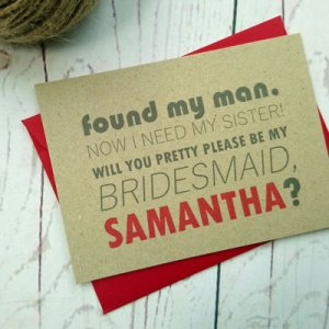 Passport Destination Travel Bridesmaid Request Card with red envelope