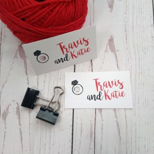 Movie Concert Photo Ticket Wedding Tag in black and red colours