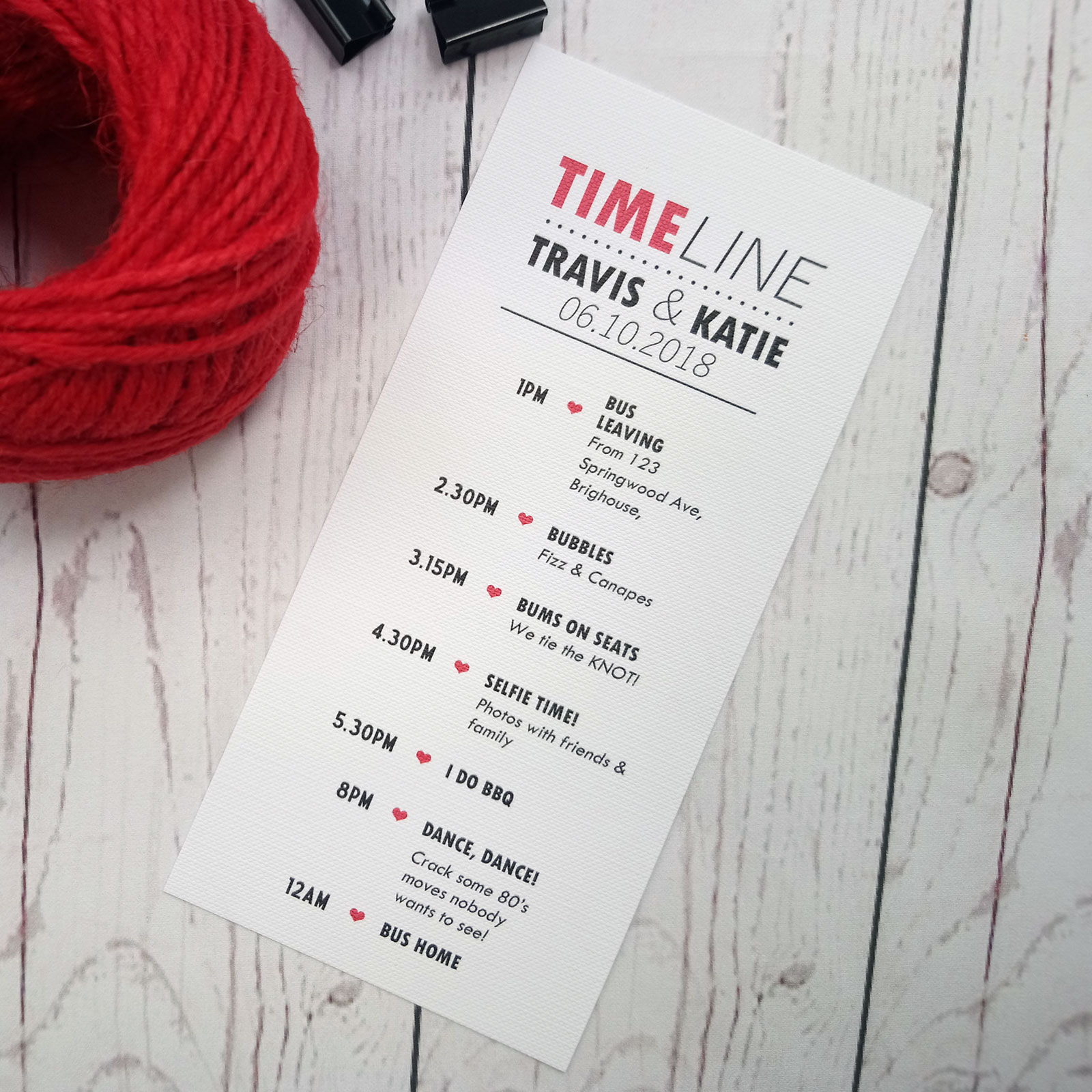 Movie Concert Photo Ticket Wedding Timeline in red and black