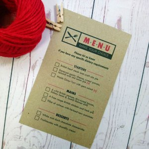 Photo Booth Wedding Menu Card with picture of black knife and fork. Meal choice menu with tick boxes. Starters, mains and desserts