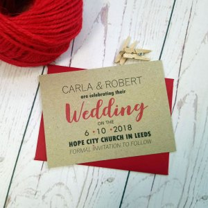 Photo Booth Save The Date Card with matching red envelope