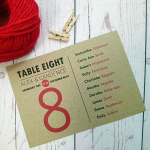 Photo Booth Wedding Table plan with guests first names in black and last names in red