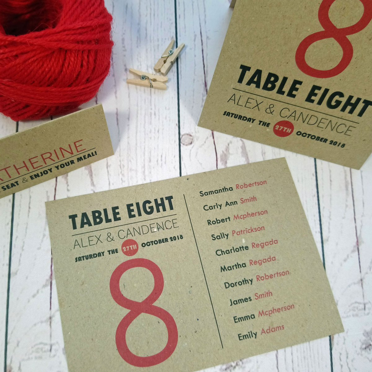 Photo Booth Table Items: place card, table number and table plan