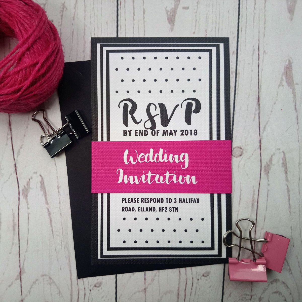 Polka Dot Wedding Invitation Set with pink banner.