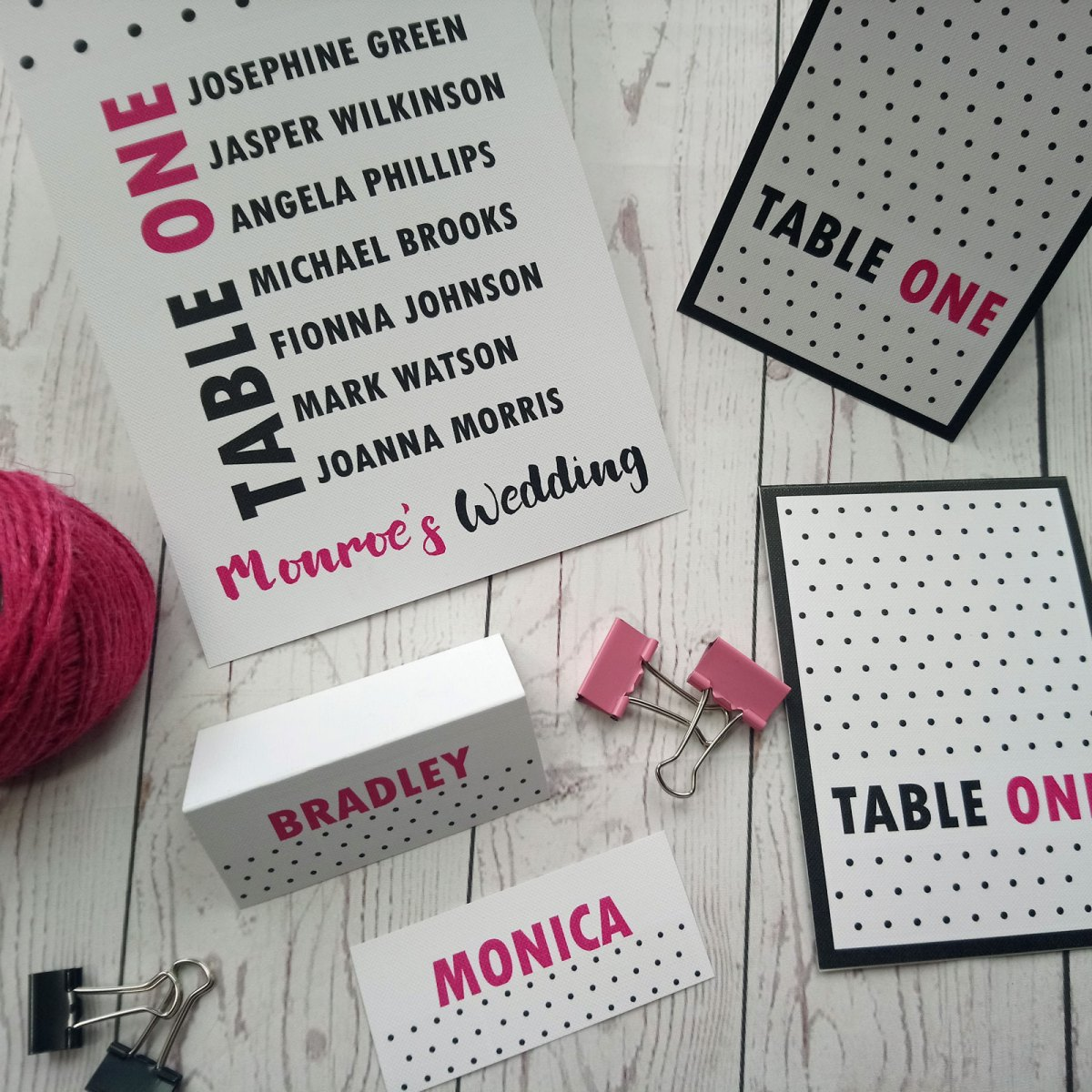 Polka Dot Table Items in the polka dot retro style in vibrant pink and black
