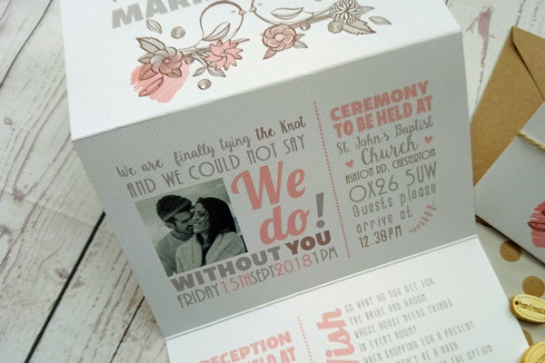 Vintage Birds Triptych Wedding Invitation divided in three sections close up of the bride and groom picture and ceremony