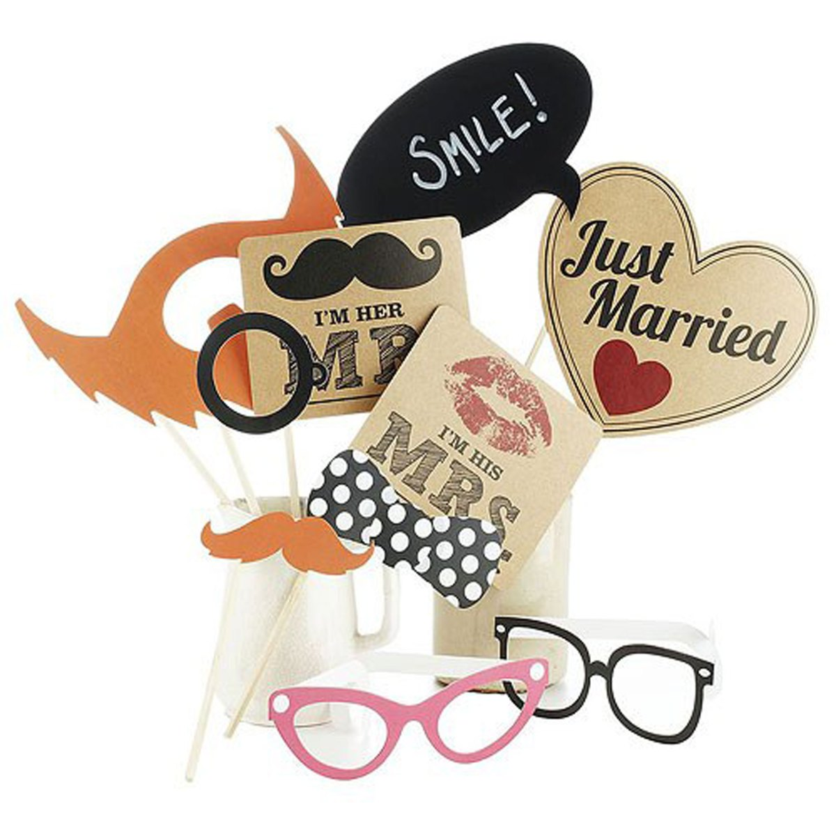 Photo booh props kit with moustache and lips party