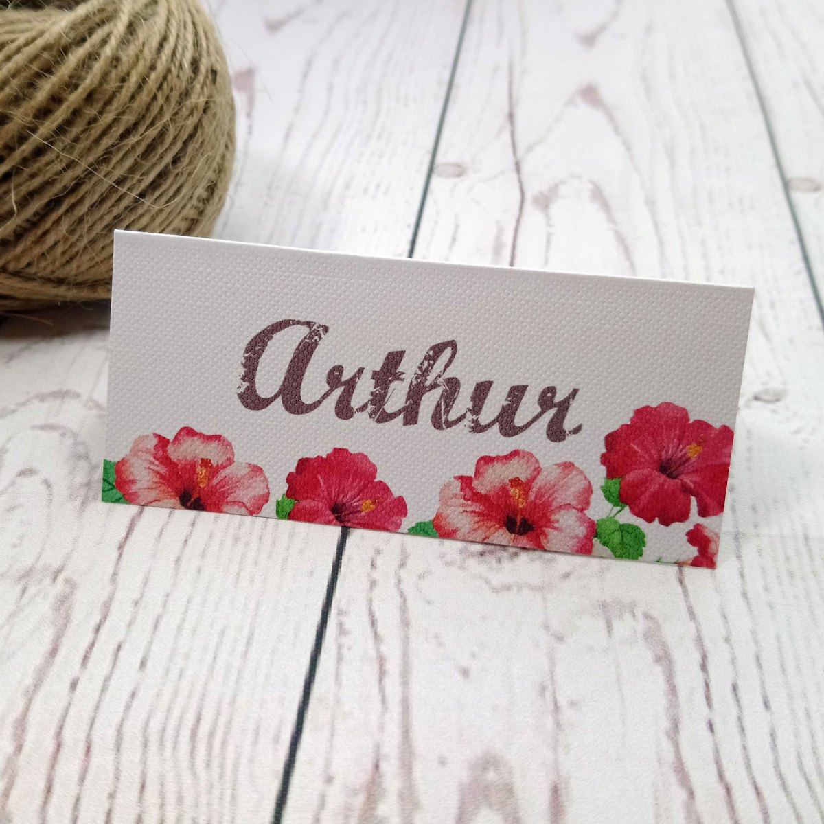 Watercolour Flowers Folded Place Card standing up on the table
