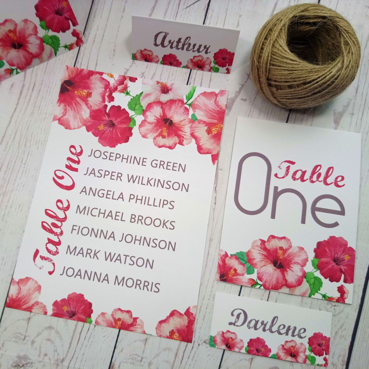 Watercolour Flowers Table Items, table plan, table number and place card