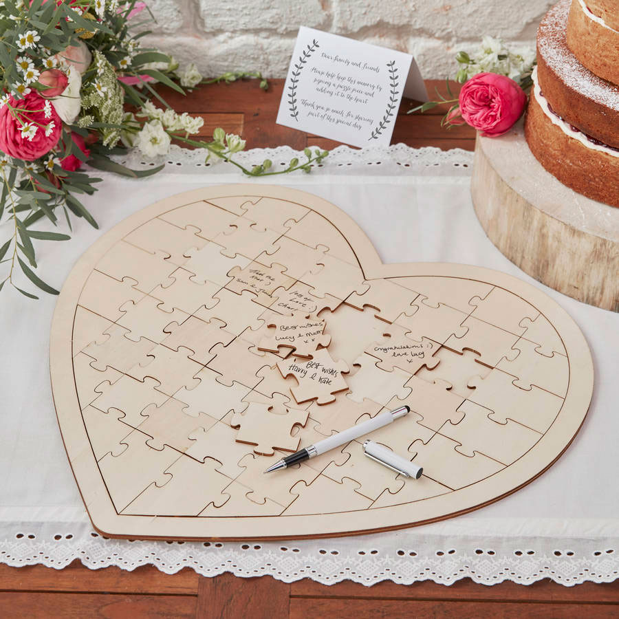 Heart Jigsaw Wedding Guest Book made of wood for wedding guests