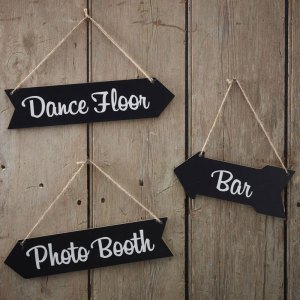 Black Wooden Arrow Signs for danec floor, bar and photo booth vintage wedding decoration