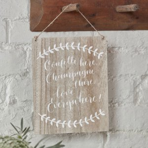 Confetti Wedding Wooden Sign with twine to hang on the wall. Rustic wedding decoration for venue and reception