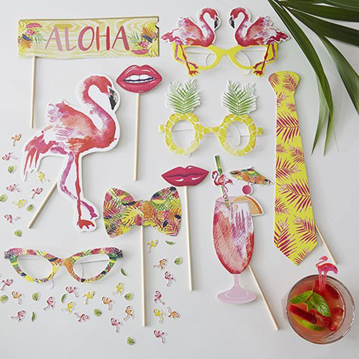 Flamingo Fun Party Phot Booth Props Kit with pianapple glasses flamingo sunglasses exotic drink