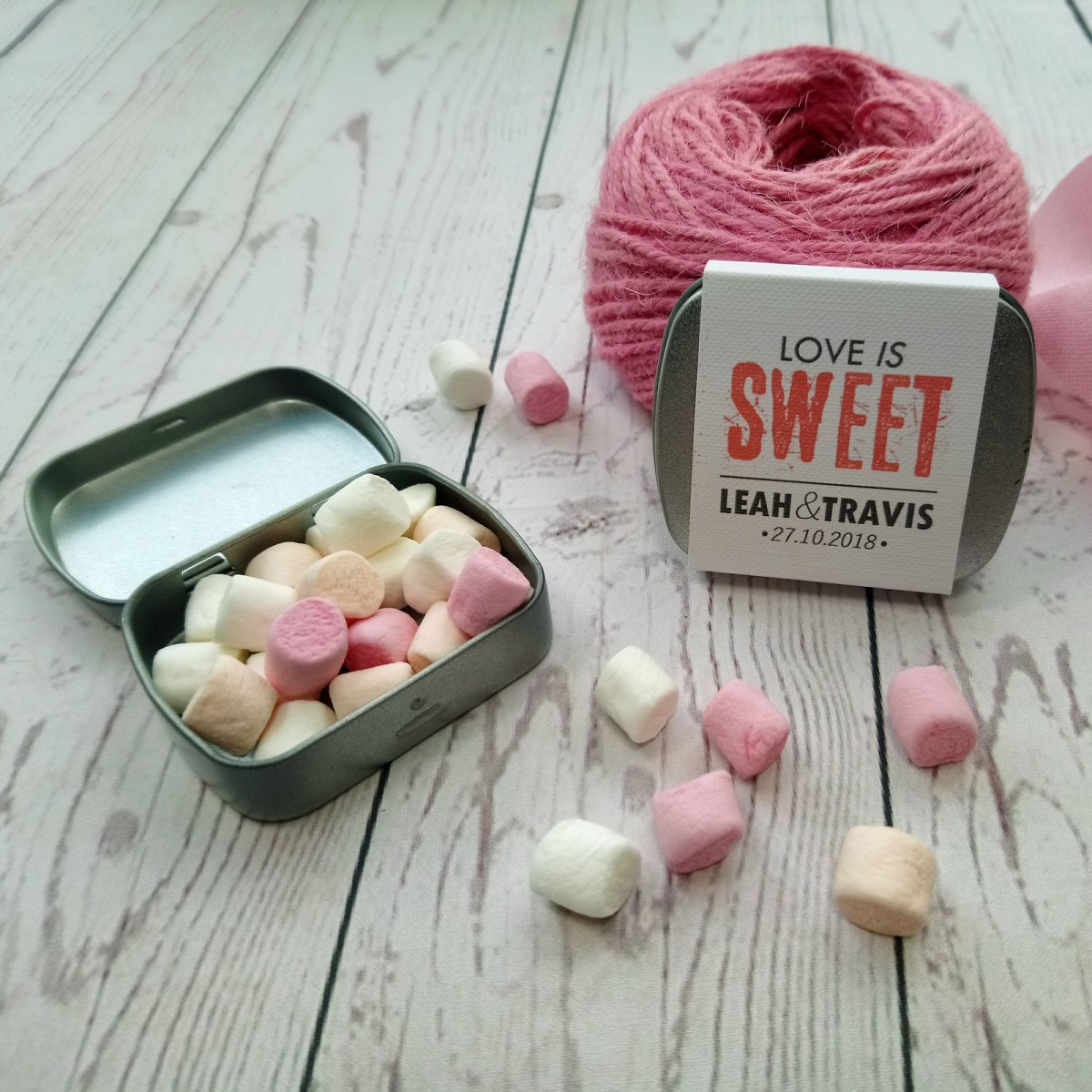 Metallic tin with marshmallows. Pink wedding favour Love is Sweet