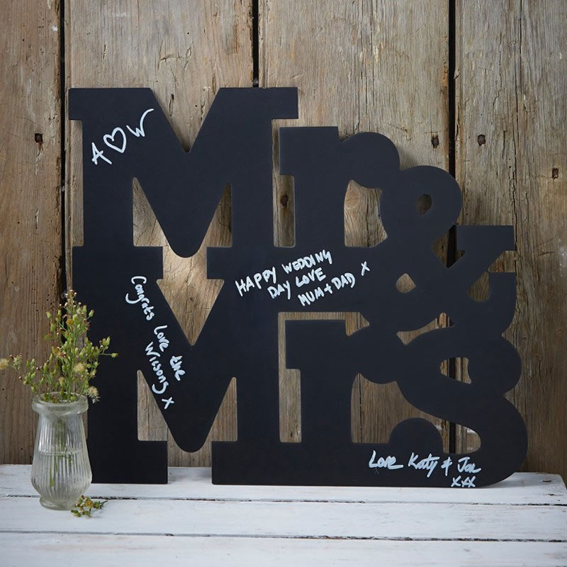 Mr and Mrs Chalkboard Guest Book sing