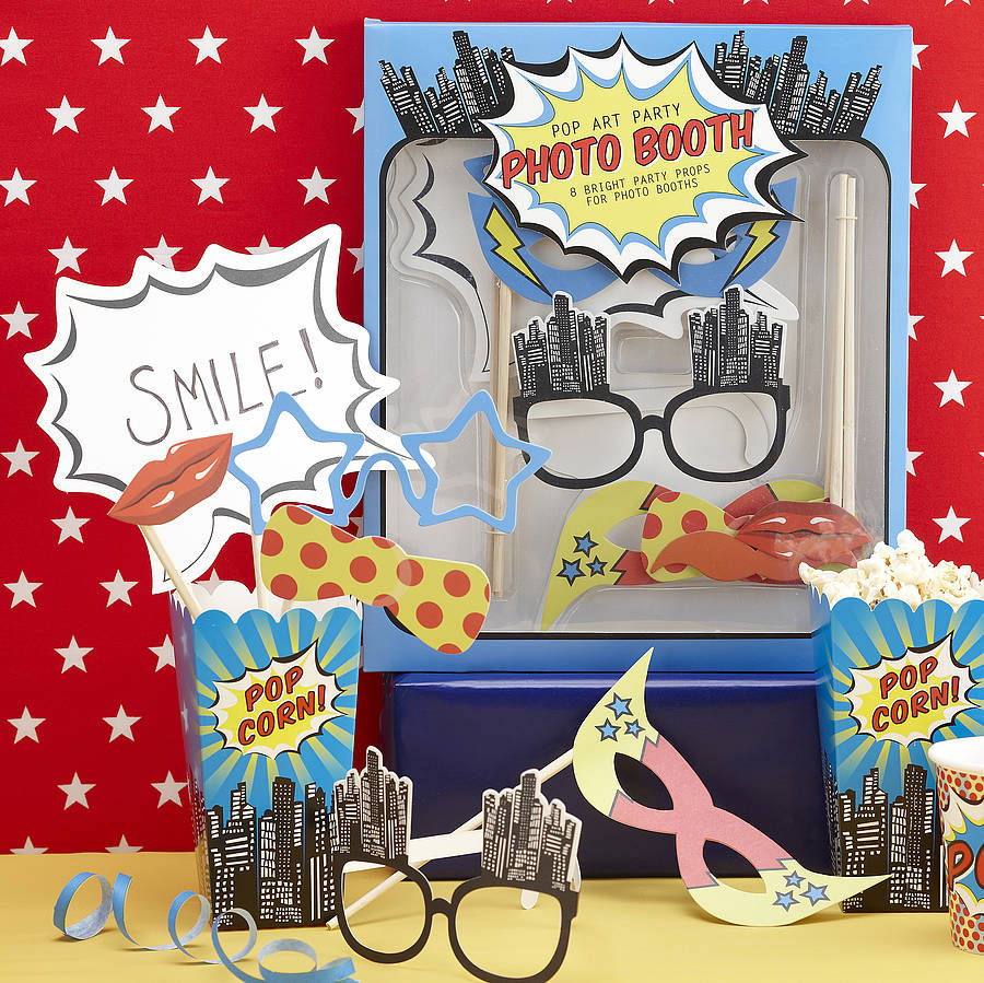 Pop Art Super Hero Photo Booth Props Kit with super hero masks and glasses