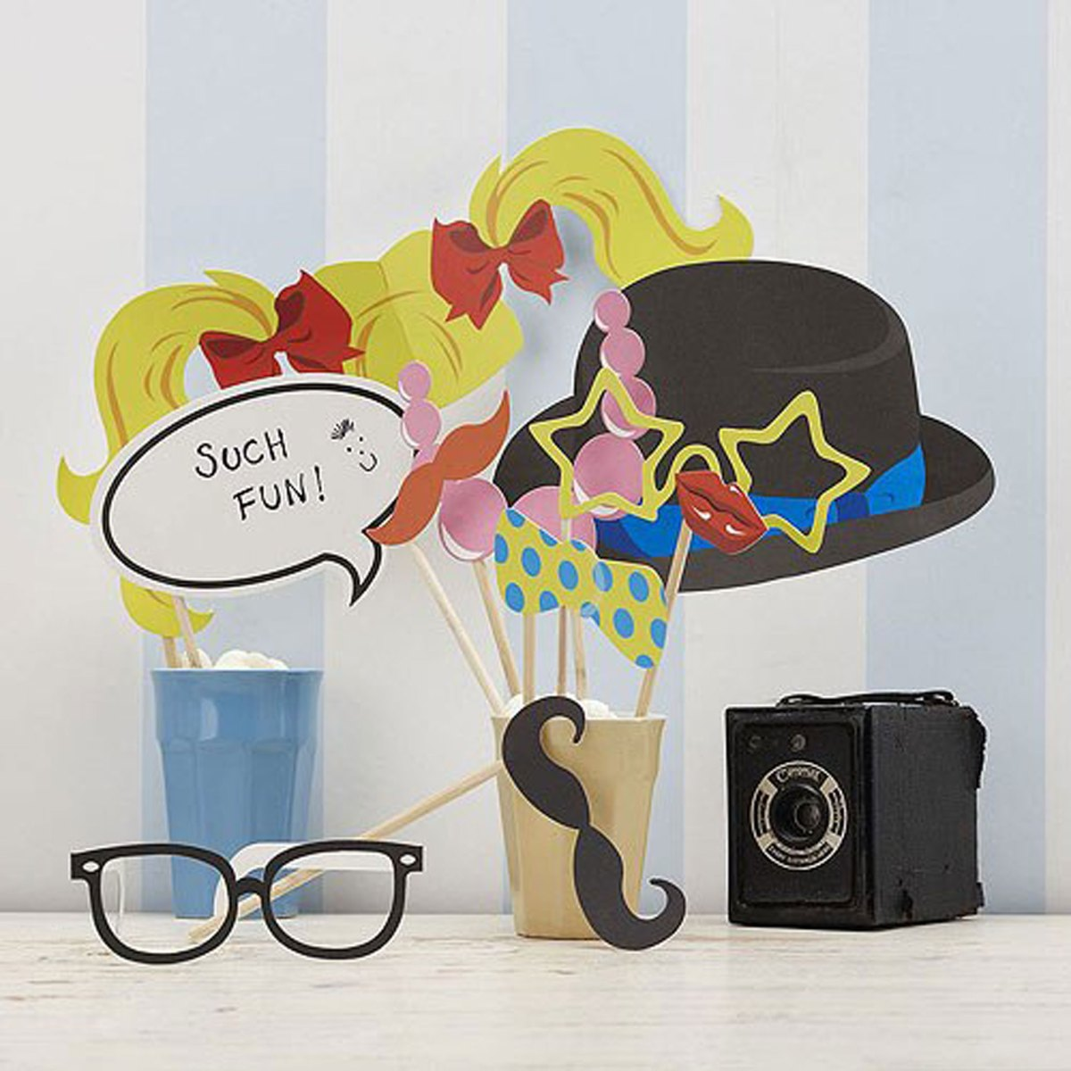 Vintage Classy Photo Booth Props Kit with bower hat