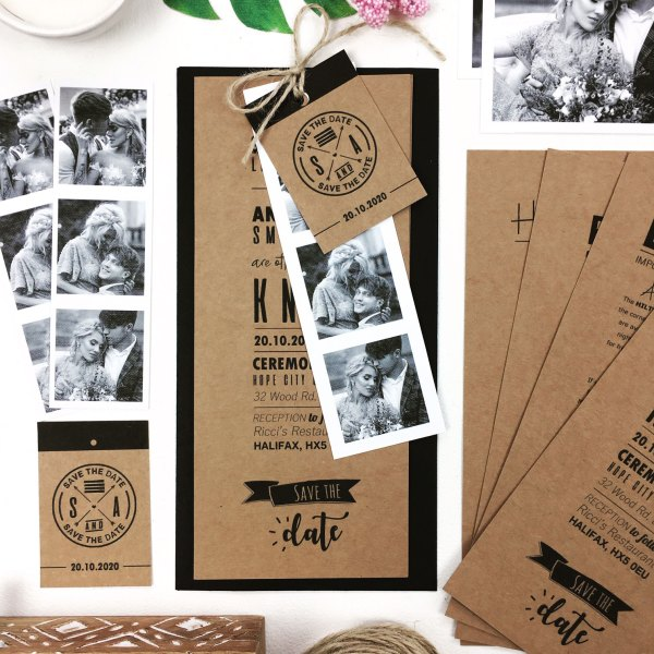 Rustic Craft Wedding Invitation Booklet With Black Envelope