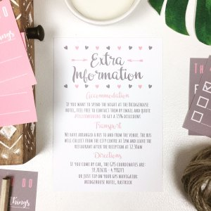 Extra info insert in dusky pink and grey