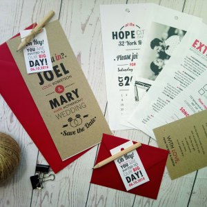 Rustic Picture Booth Wedding Invitation Set with 6 layers and wooden pen
