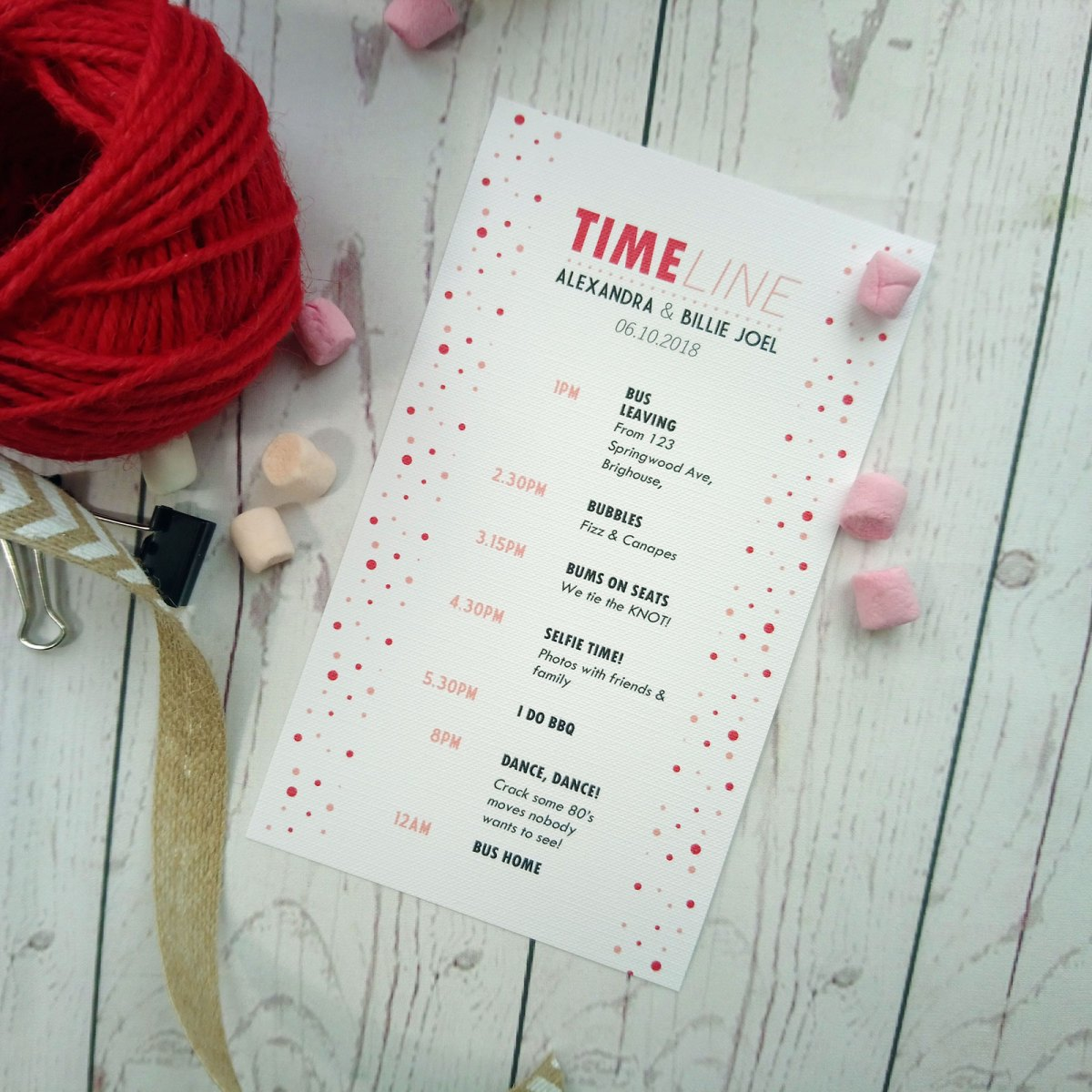 Red and Pink Polka Dot Timeline