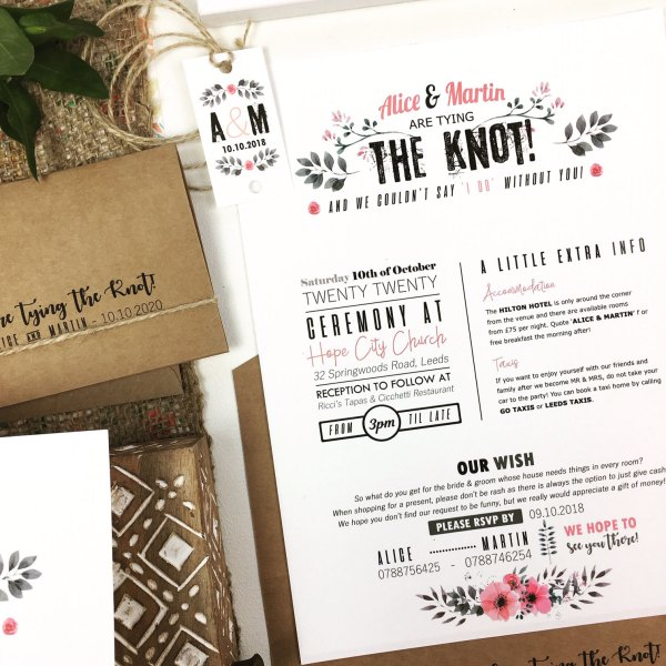 Full 3 Section Wedding Invitation Pink Vintage Flowers