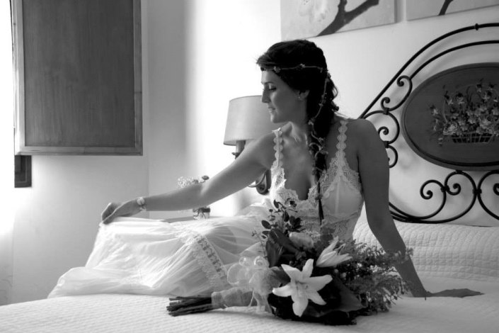 Black and white picture of DIY bride