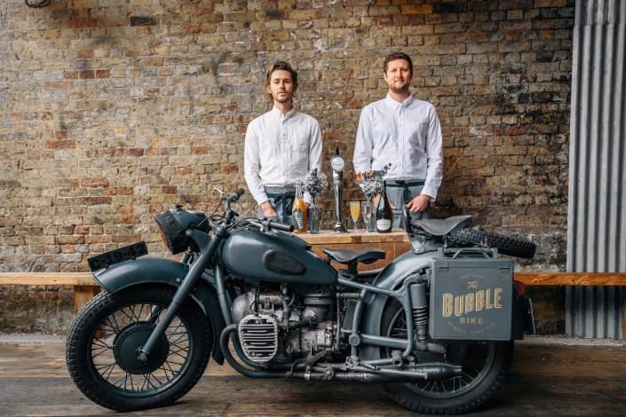Prosecco Brothers posing with their new Bubble Bike