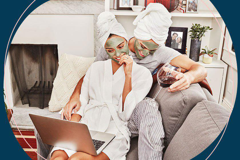 Fture bride and groom relaxing together facial masks on planning wedding