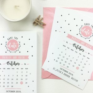 Main Picture Calendar Polka Dot Save The Date