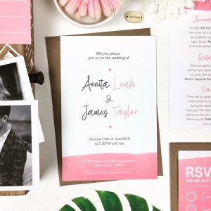 Pink Contemporary Wedding Invitation