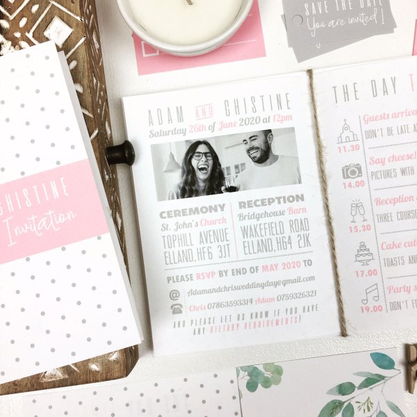 Wedding Invitation Booklet with black and white picture