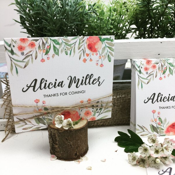 Place Card with flowery pattern