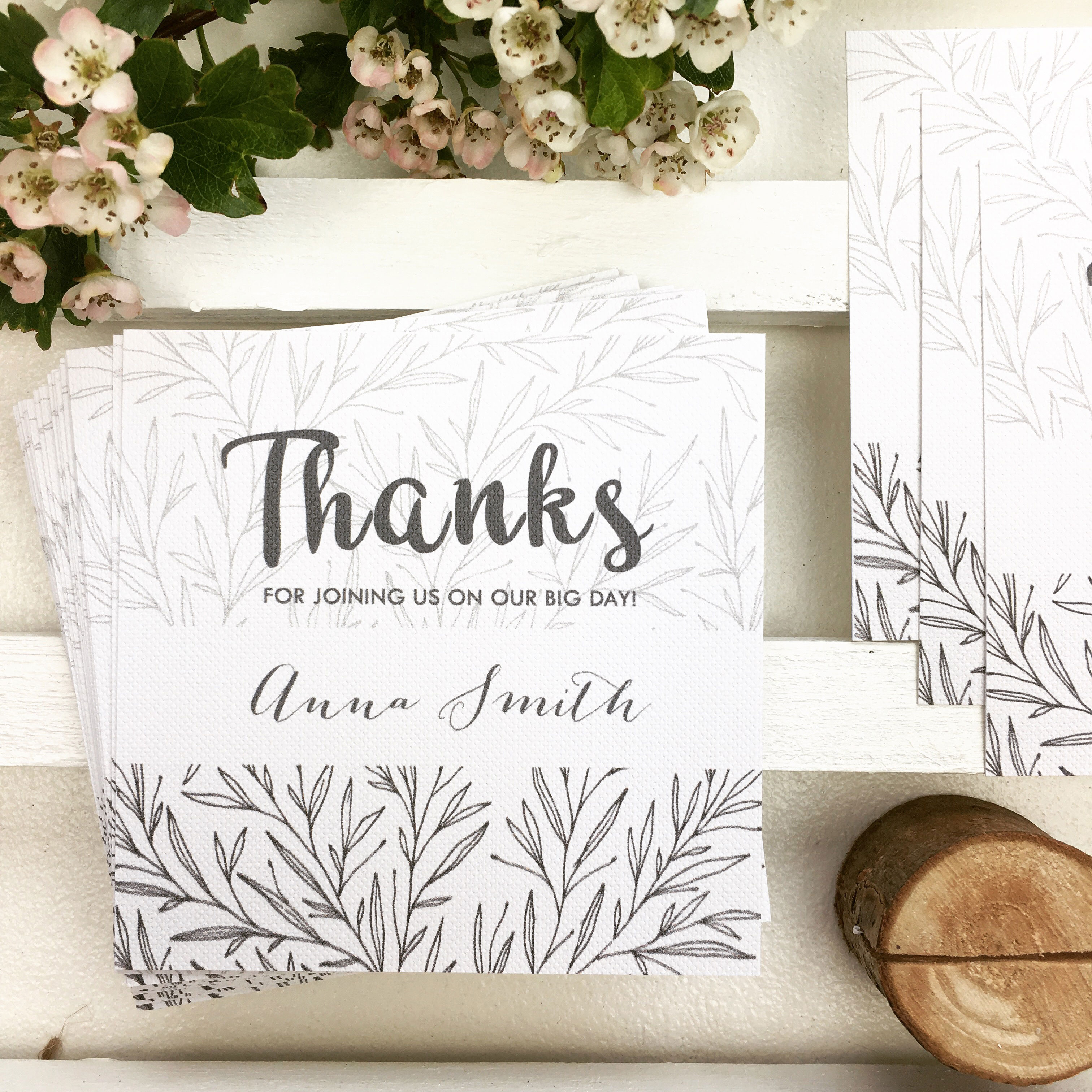 minimal place cards leaves